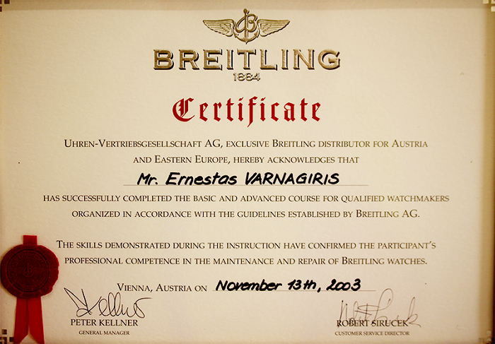 Breitling Certificate